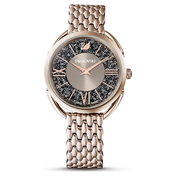Crystalline Glam Watch, Metal bracelet, Grey, Champagne-gold tone PVD - Swarovski, 5452462
