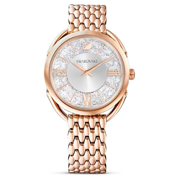 Crystalline Glam Uhr, Metallarmband, weiss, Rosé vergoldetes PVD-Finish - Swarovski, 5452465