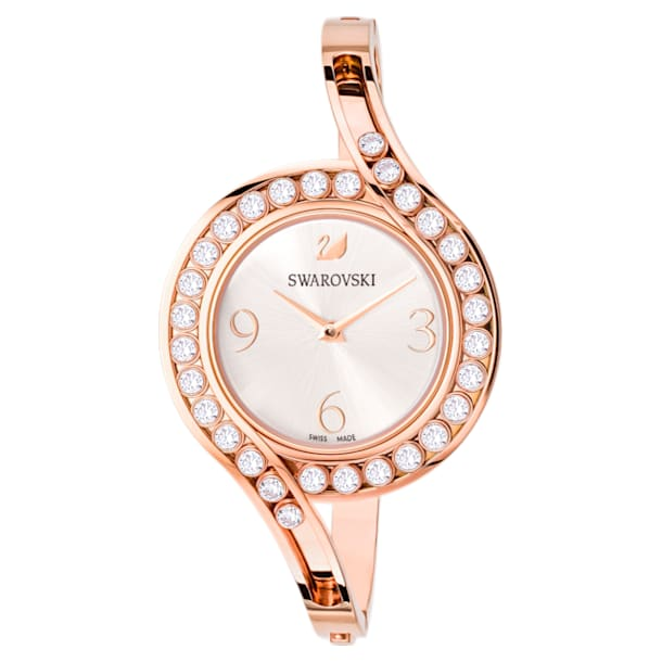 Montre Lovely Crystals Bangle, Bracelet en métal, blanc, PVD doré rose - Swarovski, 5452489