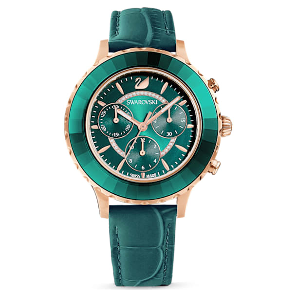 Octea Lux Chrono Uhr, Lederarmband, Grün, Roségold-Legierungsschicht PVD-Finish - Swarovski, 5452498