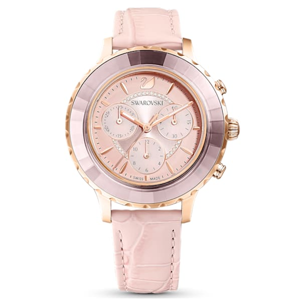 Octea Lux Chrono Watch, Leather Strap, Pink, Rose-gold tone PVD - Swarovski, 5452501