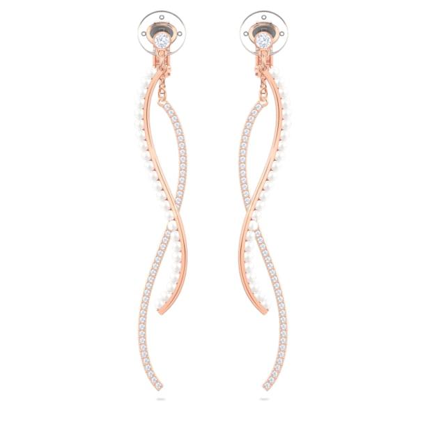 Major clip earrings, White, Rose gold-tone plated - Swarovski, 5454334