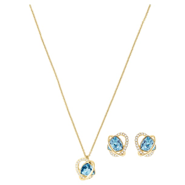 Outstanding Set, Aqua, Gold-tone plated - Swarovski, 5455031