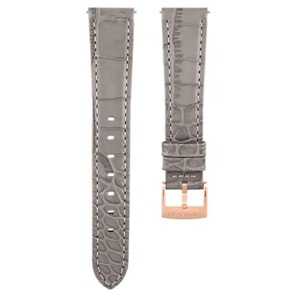 Cinturino per orologio 17mm, pelle con impunture, grigio talpa, placcato color oro rosa - Swarovski, 5455156