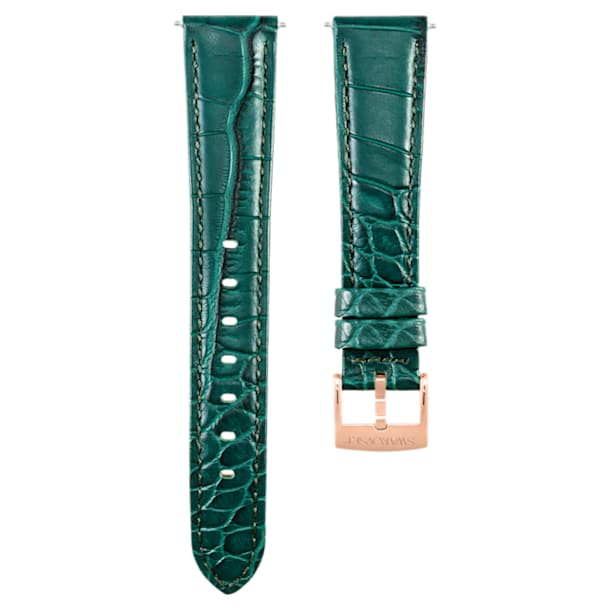 17mm Watch strap, Leather with stitching, Green, Rose-gold tone plated - Swarovski, 5455159