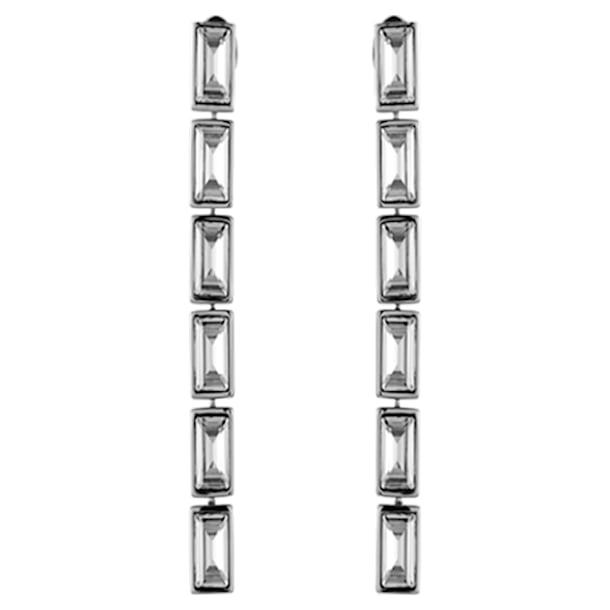 Boucles d'oreilles drop Fluid, gris, Métal plaqué palladium - Swarovski, 5455643