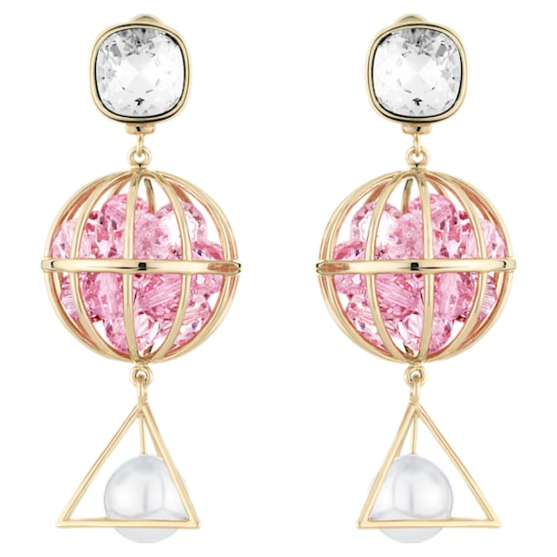 Nostalgia Pierced Earrings, Pink, Rose-gold tone plated - Swarovski, 5457231