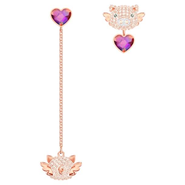 Little Pig 穿孔耳環, 多色設計, 鍍玫瑰金色調 - Swarovski, 5457336
