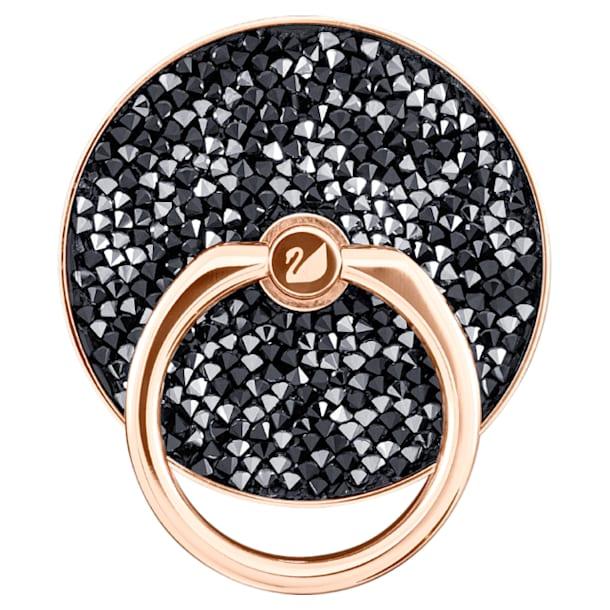 Αυτοκόλλητο δαχτυλίδι κινητού Glam Rock, Μαύρο, Επιμετάλλωση σε ροζ χρυσαφί τόνο - Swarovski, 5457469