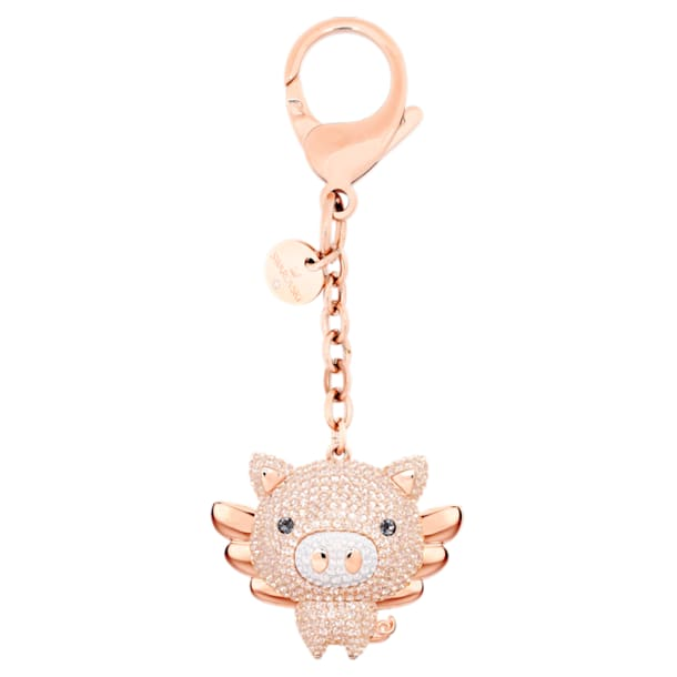 Little bag charm, Pig, Pink, Rose gold-tone plated - Swarovski, 5457471