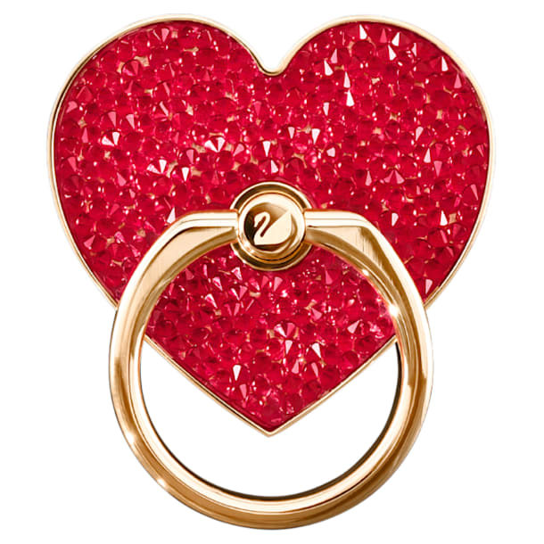 Anillo adhesivo Glam Rock, Corazón, Rojo, Baño tono oro Rosa - Swarovski, 5457473