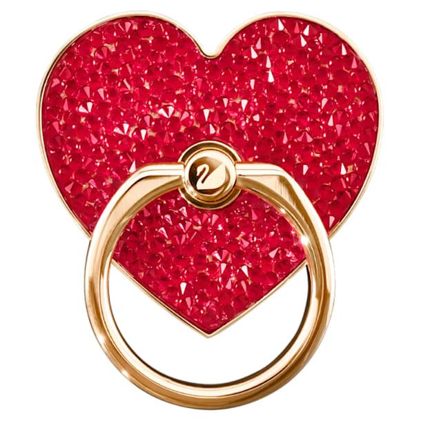 Anneau autocollant Glam Rock, Cœur, Rouge, Métal doré rose - Swarovski, 5457473