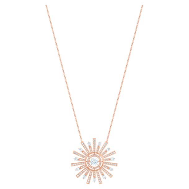 Sunshine Necklace, White, Rose-gold tone plated - Swarovski, 5459593
