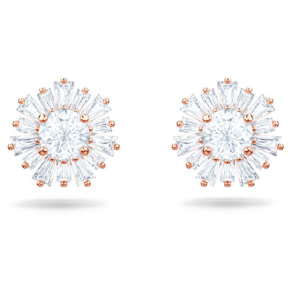 Sunshine Pierced Earrings, White, Rose-gold tone plated - Swarovski, 5459597
