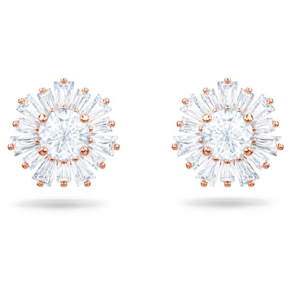 Sunshine stud earrings, Sun, White, Rose gold-tone plated - Swarovski, 5459597