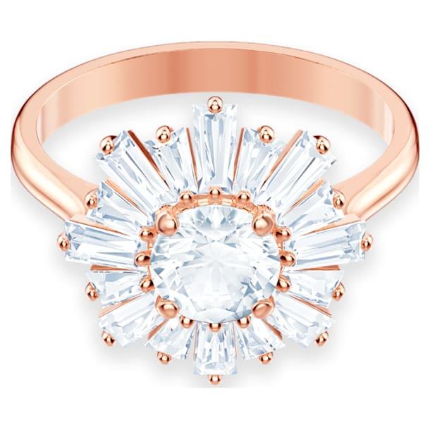 Δαχτυλίδι Sunshine, Ήλιος, Λευκό, Επιμετάλλωση σε ροζ χρυσαφί τόνο - Swarovski, 5459599