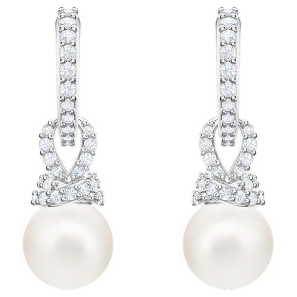 Boucles d'oreilles Originally, blanc, Métal rhodié - Swarovski, 5461080