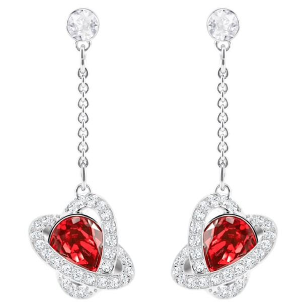 Outstanding Pierced Earrings, Red, Rhodium plated - Swarovski, 5462581