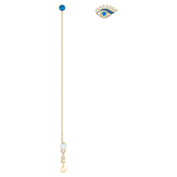 New Love Pierced Earrings, Multi-colored, Gold-tone plated - Swarovski, 5463404
