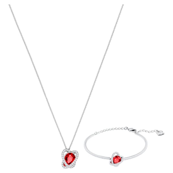 Outstanding Set, Red, Rhodium plated - Swarovski, 5463761