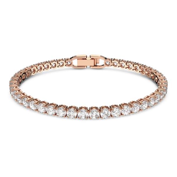 Bransoletka Tennis Deluxe, Okrągły, Biały, Powłoka w odcieniu różowego złota - Swarovski, 5464948