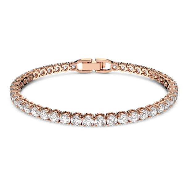 Tennis Deluxe bracelet, Round cut crystals, White, Rose-gold tone plated - Swarovski, 5464948