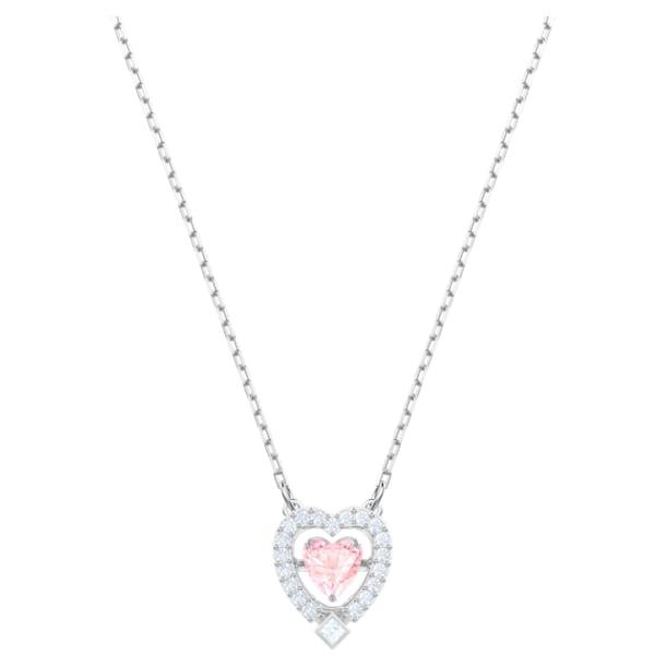 Swarovski Sparkling Dance necklace, Heart, Pink, Rhodium plated - Swarovski, 5465284