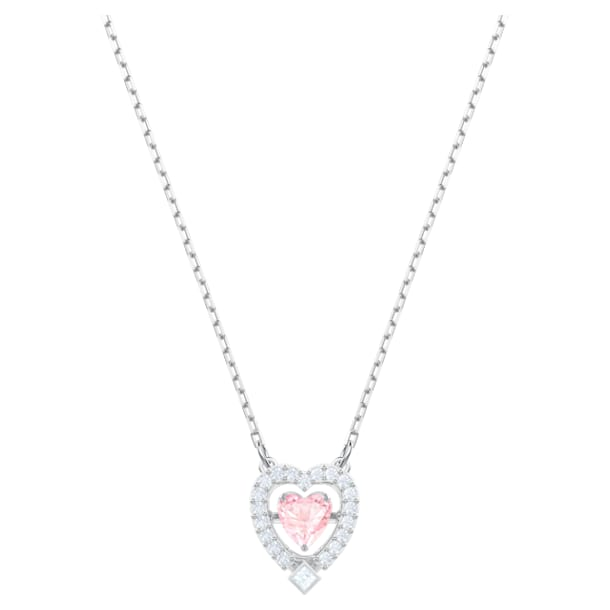 Swarovski Sparkling Dance 项链, 心形, 粉红色, 镀铑 - Swarovski, 5465284