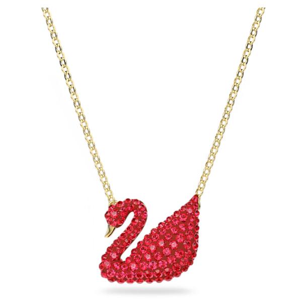 Swarovski Iconic Swan Подвеска, Лебедь, Красный кристалл, Покрытие оттенка золота - Swarovski, 5465400