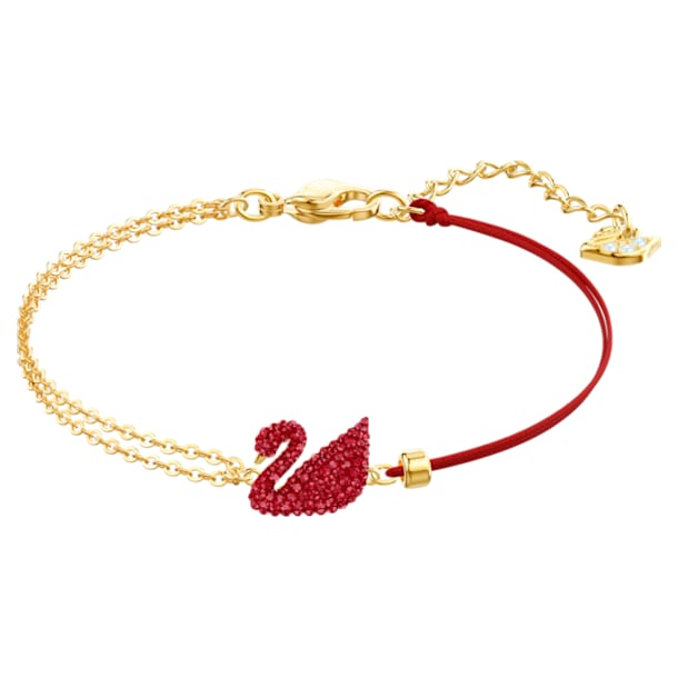 Swarovski Iconic Swan Браслет, Лебедь, Красный кристалл, Покрытие оттенка золота - Swarovski, 5465403
