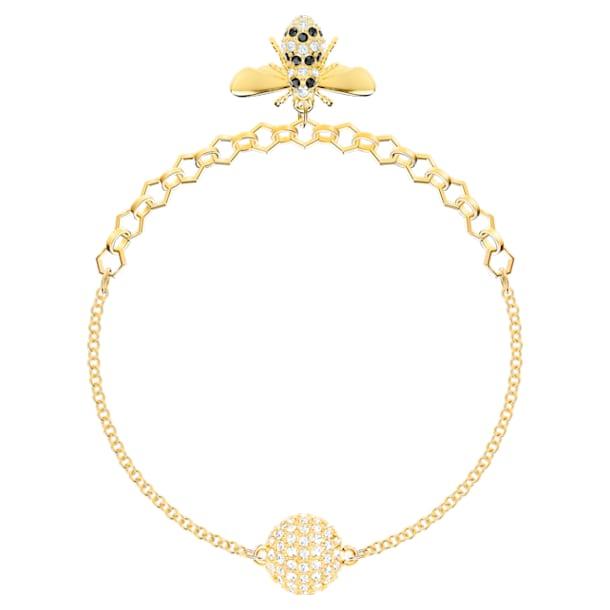 Fio com abelha da Swarovski Remix Collection, preto, banhado com tom dourado - Swarovski, 5466040