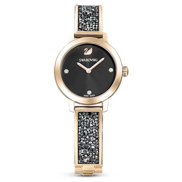 Cosmic Rock horloge, Metalen armband, Zwart, Goudkleurige toplaag - Swarovski, 5466205