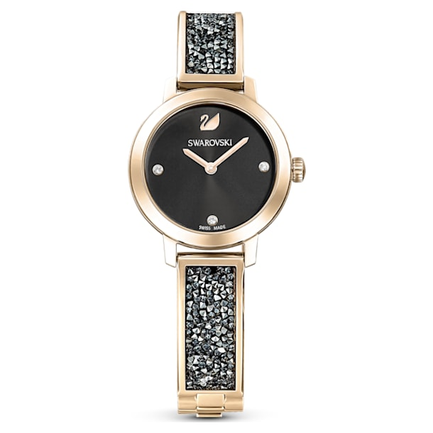 Reloj Cosmic Rock, Brazalete de metal, Gris, PVD tono oro champán - Swarovski, 5466205