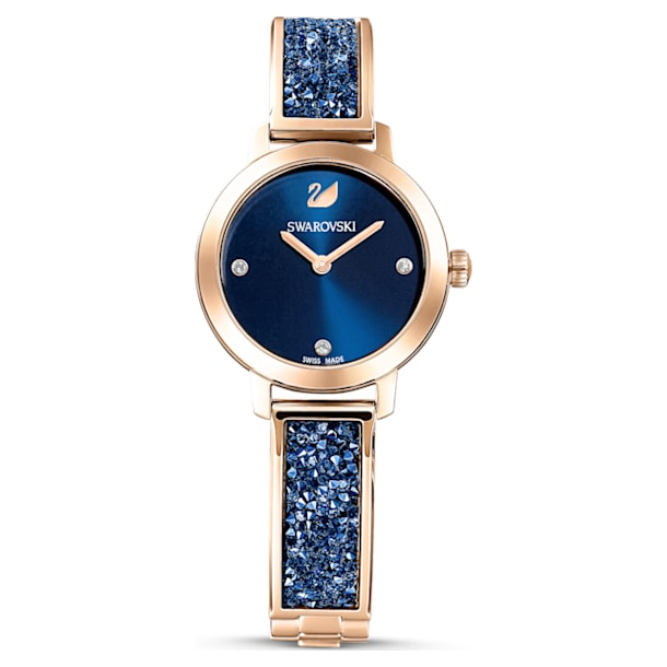 Hodinky Cosmic Rock, Kovový náramek, Modrá, PVD v růžovozlatém odstínu - Swarovski, 5466209