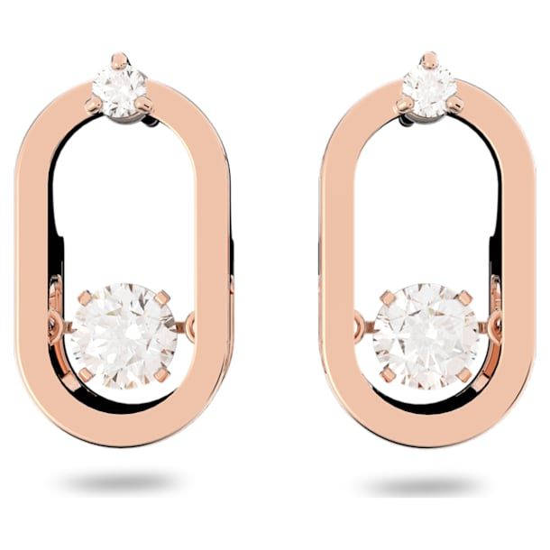 Sparkling Dance 穿孔耳環, 白色, 鍍玫瑰金色調 - Swarovski, 5468118