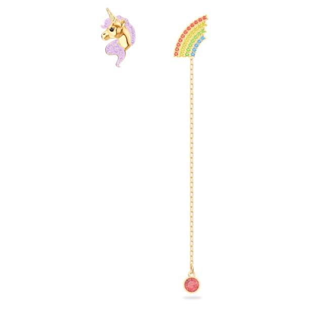 Out of this world 穿孔耳环, 不对称, 独角兽和彩虹, 流光溢彩, 镀金色调 - Swarovski, 5468315