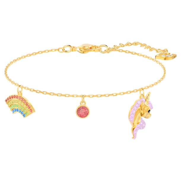 Out of this world bracelet, Unicorn and rainbow, Multicolored, Gold-tone plated - Swarovski, 5468316