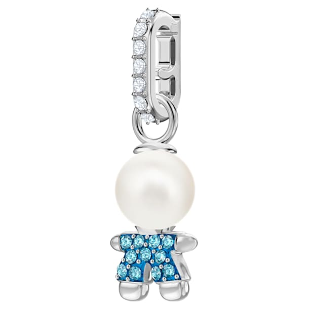 Swarovski Remix Collection Boy Charm, Aqua, Rhodium plated - Swarovski, 5468566