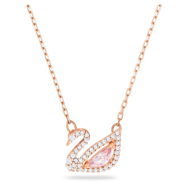 Dazzling Swan Necklace, Multi-colored, Rose-gold tone plated - Swarovski, 5469989