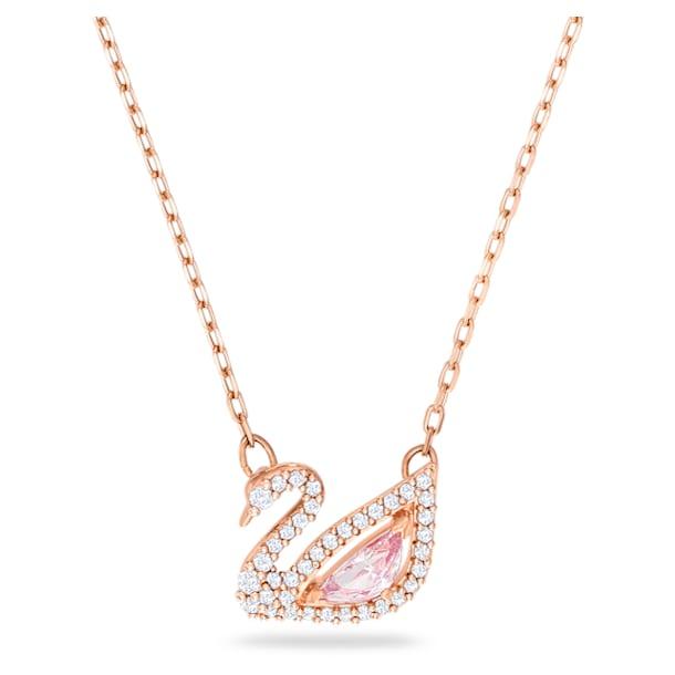 Dazzling Swan Колье, Лебедь, Розовый кристалл, Покрытие оттенка розового золота - Swarovski, 5469989