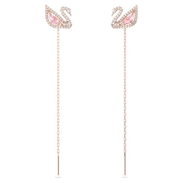 Dazzling Swan Pierced Earrings, Multi-colored, Rose-gold tone plated - Swarovski, 5469990