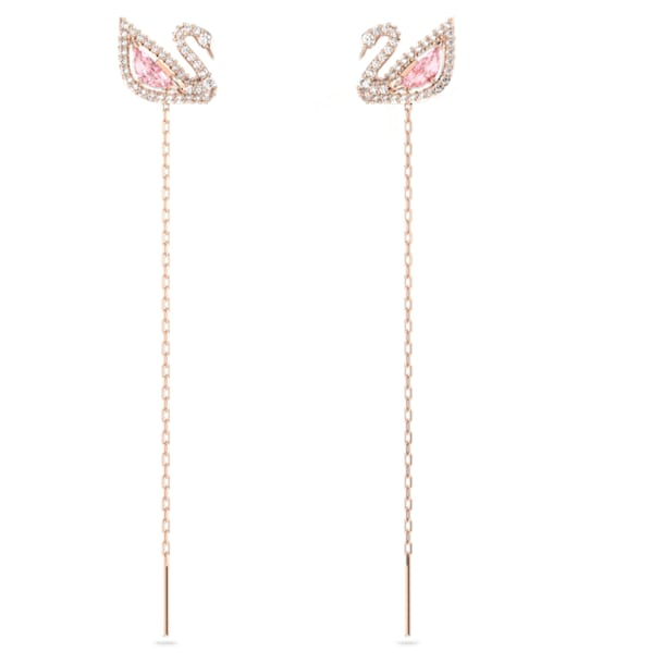 Dazzling Swan Pierced Earrings, Multi-colored, Rose-gold tone plated - Swarovski, 5469990