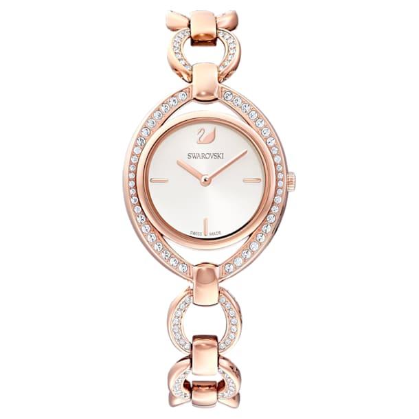 Montre Stella, Bracelet en métal, blanc, PVD doré rose - Swarovski, 5470415
