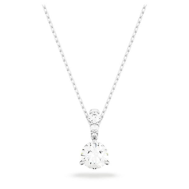 Solitaire pendant, White, Rhodium plated - Swarovski, 5472635