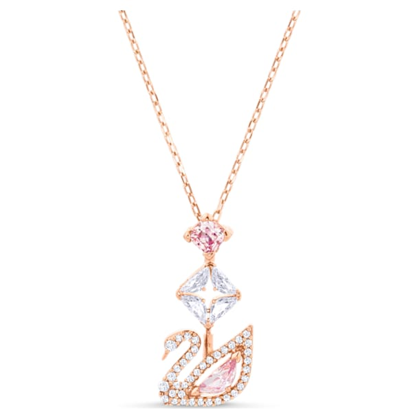 Dazzling Swan Y Necklace, Multi-colored, Rose-gold tone plated - Swarovski, 5473024