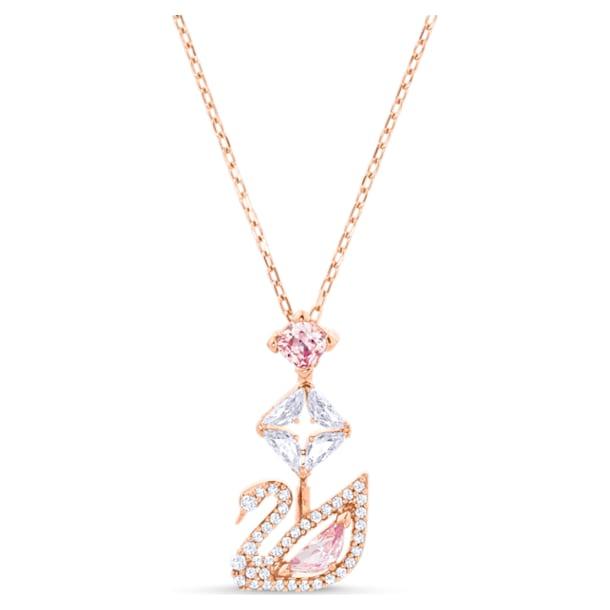Dazzling Swan Y-образное колье, Лебедь, Розовый кристалл, Покрытие оттенка розового золота - Swarovski, 5473024