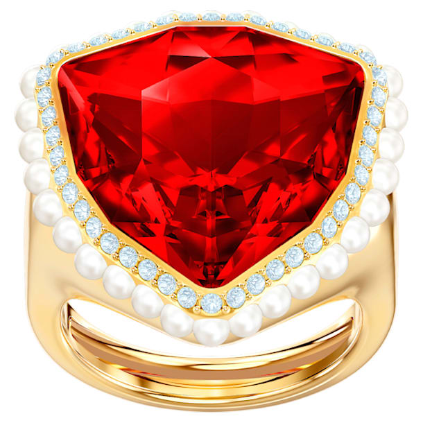Lucky Goddess Cocktail Ring, Red, Gold-tone plated - Swarovski, 5474552