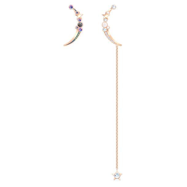 Starry Night Moon Pierced Earrings, Dark multi-colored, Rose-gold tone plated - Swarovski, 5474829