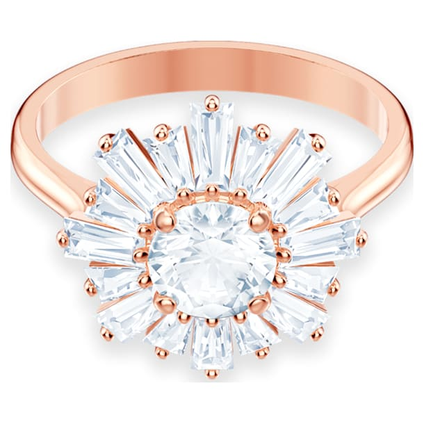 Sunshine ring, Sun, White, Rose gold-tone plated - Swarovski, 5474917