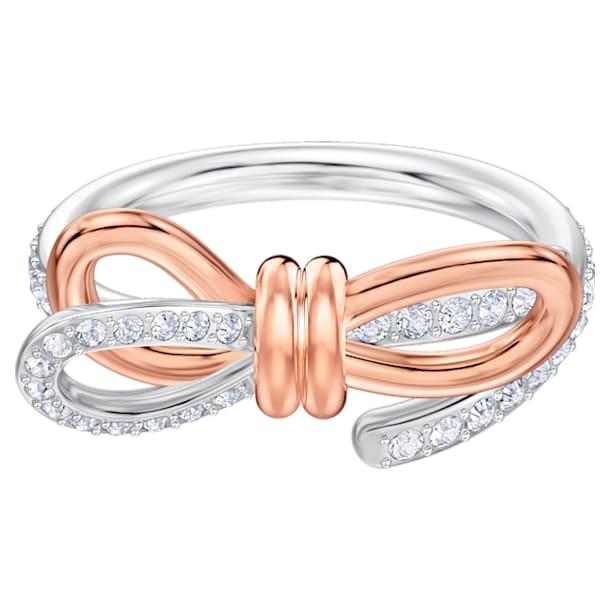 Lifelong Bow Ring, Medium, White, Mixed metal finish - Swarovski, 5474932